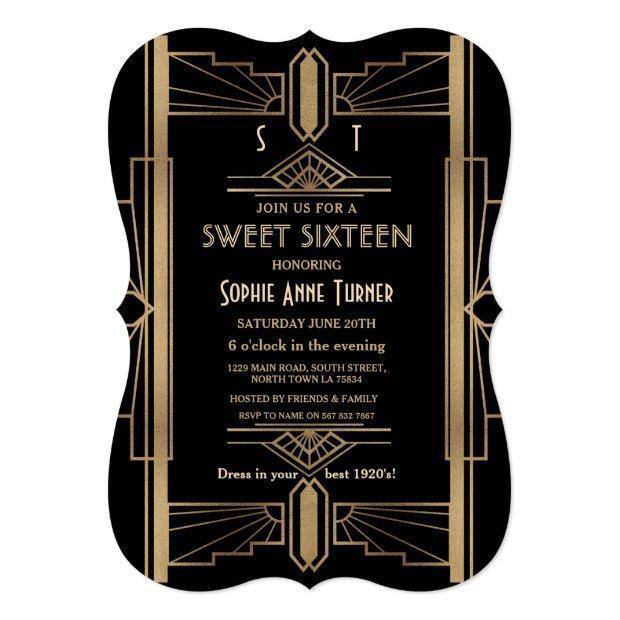 Glamorous 1920's Great Gatsby Art Deco Sweet 16 Invitations