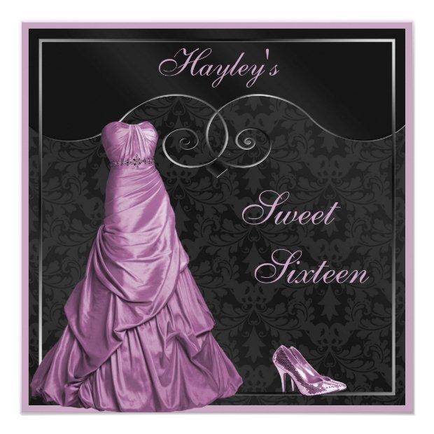 Glamorous Purple Ball Gown Black Sweet 16 Invitations