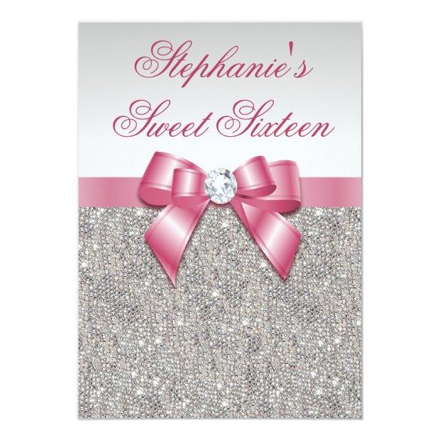 Glamorous Sweet 16 Faux Silver Sequins Pink Bow Invitations