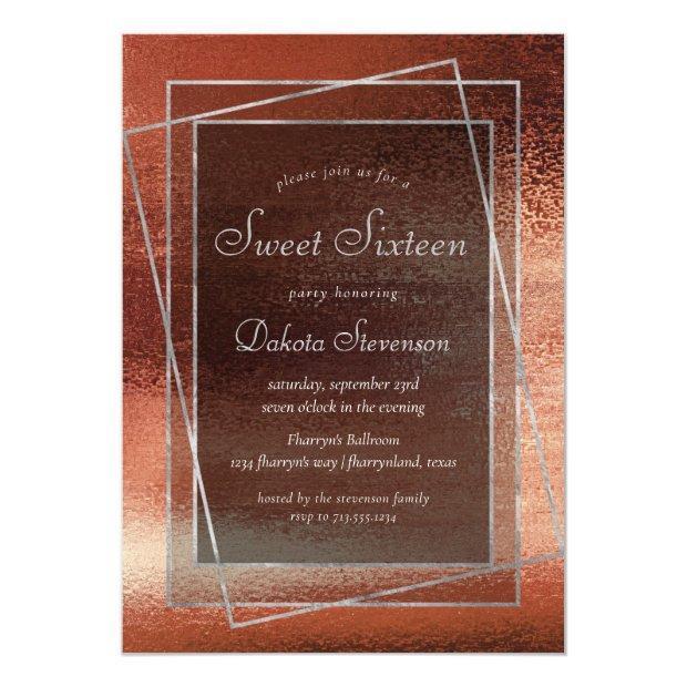 Glitzy Minimalism | Dusty Burnt Orange Sweet 16 Invitation