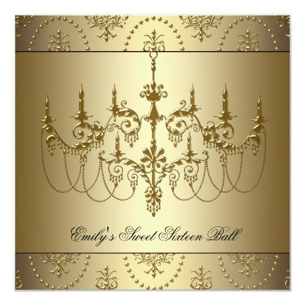 Gold Chandelier Sweet Sixteen Party Invitations