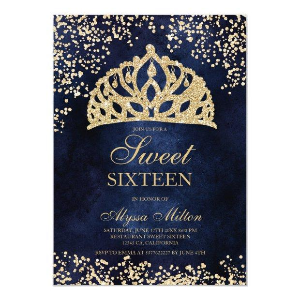 Gold Glitter Navy Blue Crown Tiara Photo Sweet 16 Invitation