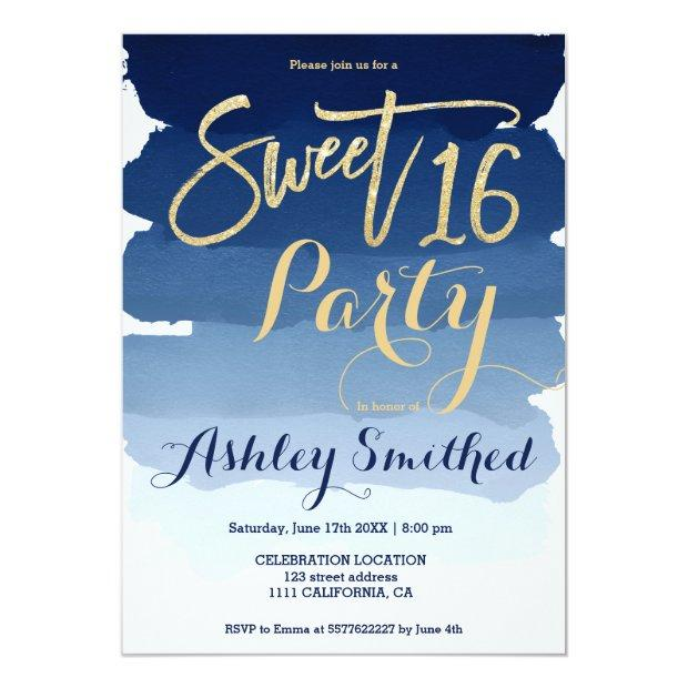 Gold Typography Navy Blue Watercolor Sweet 16 Invitations