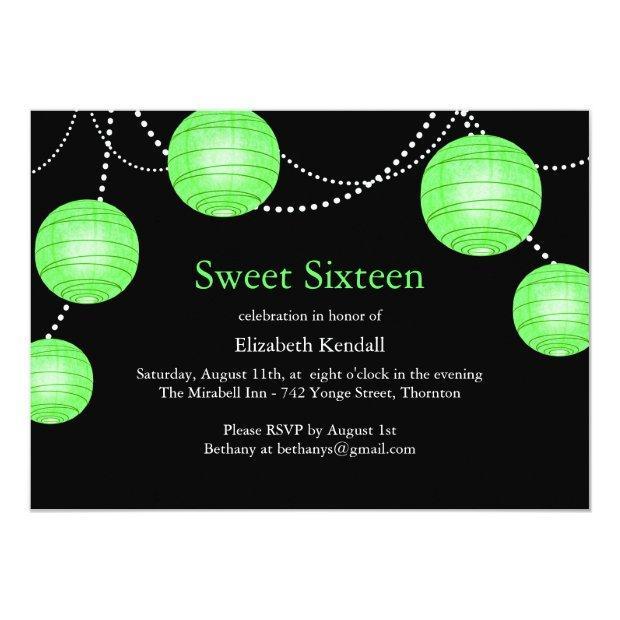 Green Party Lantern Sweet 16 Birthday