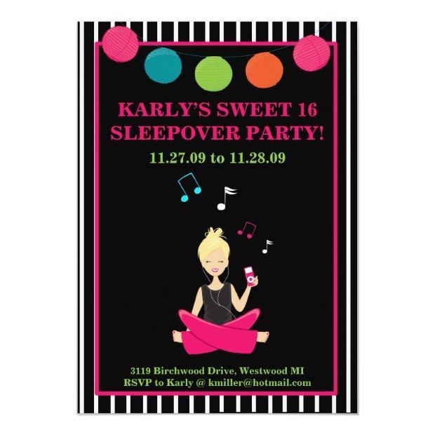 Hip Retro Modern Sassy Girl Birthday Invitation