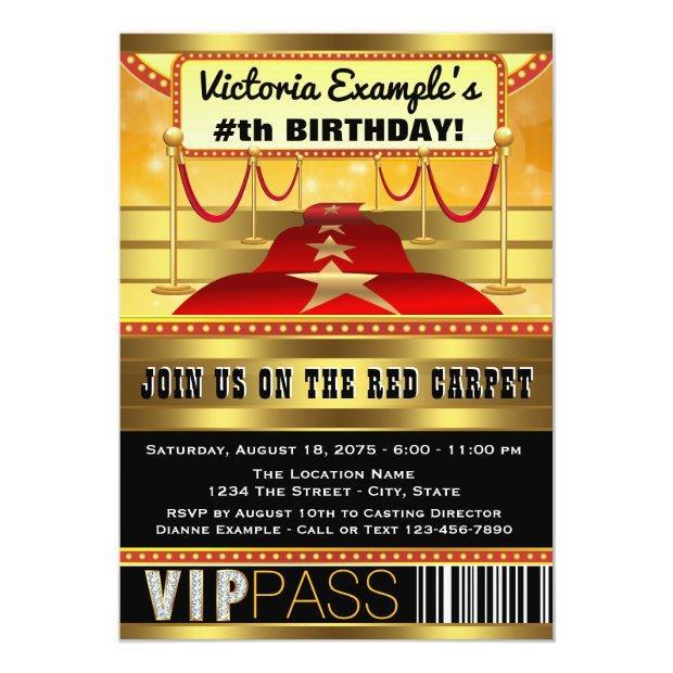 Hollywood Birthday Party Invitations