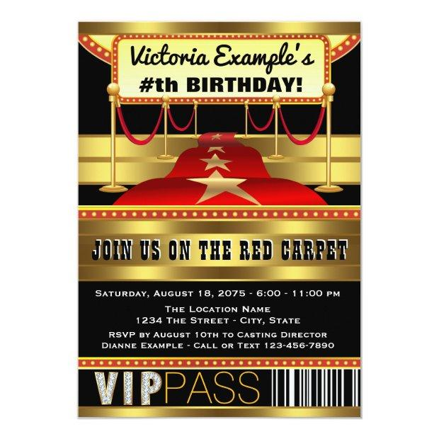 Hollywood Red Carpet Party Invitations