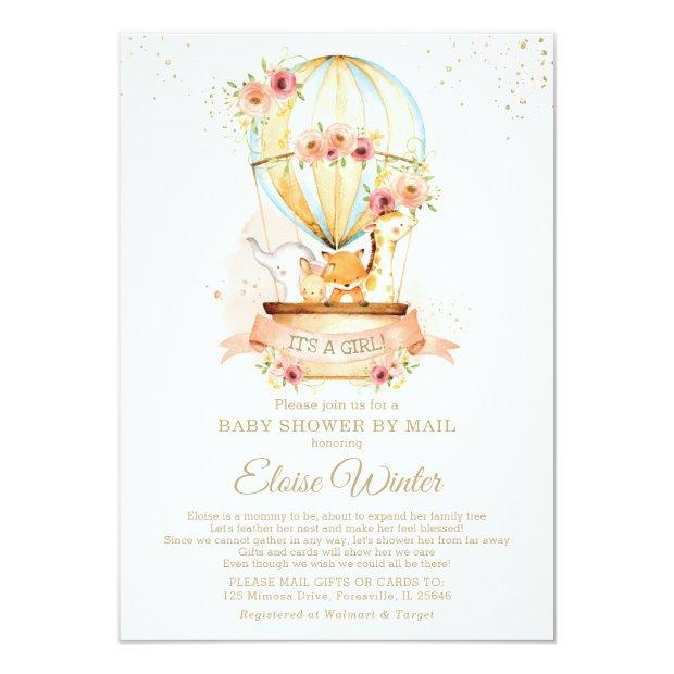 Hot Air Balloon Baby Shower By Mail Cute Animals Invitation