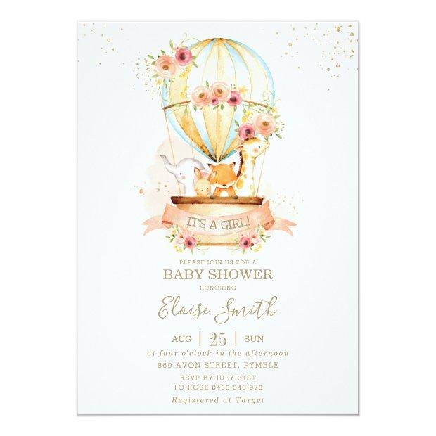 Hot Air Balloon Baby Shower Jungle Animals Girl Invitation