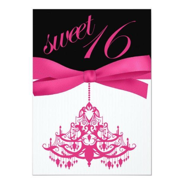 Hot Pink Black Chandelier Sweet Sixteen Invitations