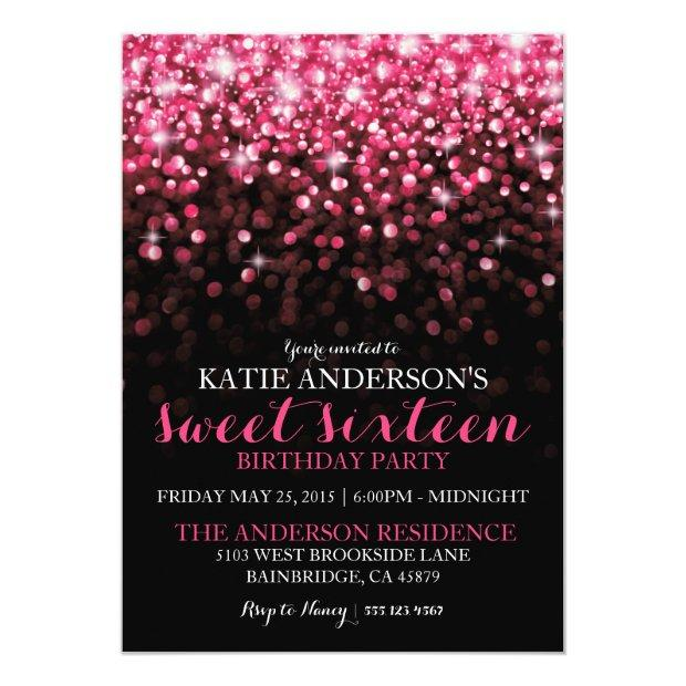 Hot Pink Hollywood Glitter Sweet Sixteen Party Invitations