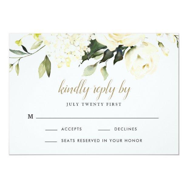 Hydrangea Elegant White Gold Rose Floral Wedding Rsvp Invitations