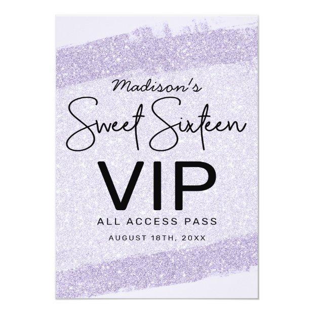 Lavender Brush Glitter Sweet 16 Invitation Vip Badge