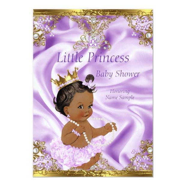 Lavender Gold Princess Baby Shower Ethnic Girl Invitations