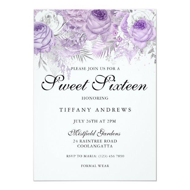 Lavender Purple White Silver Flowers Sweet 16 Invitations