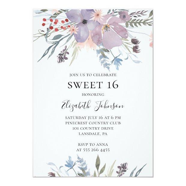 Lavender Sweet 16. Purple Floral 16th Birthday Invitation