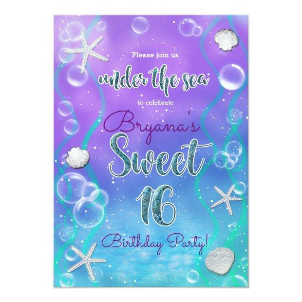 Magical Under The Sea Sweet 16 16th Birthday Party Invitations