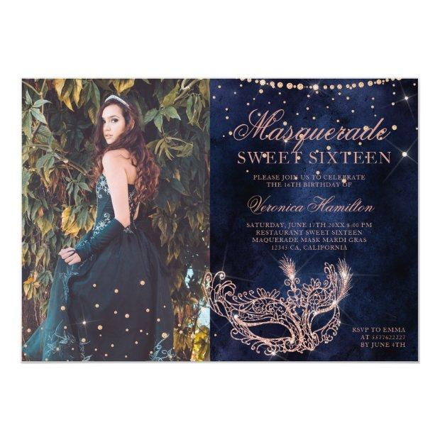 Masquerade Rose Gold Glitter Sweet 16 Photo Invitation
