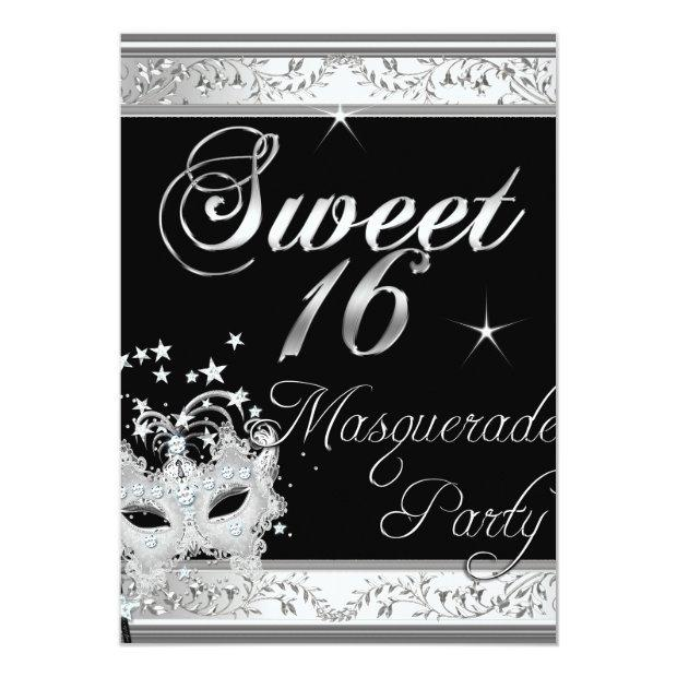 Masquerade Sweet 16 Sixteen Birthday Black White Invitations
