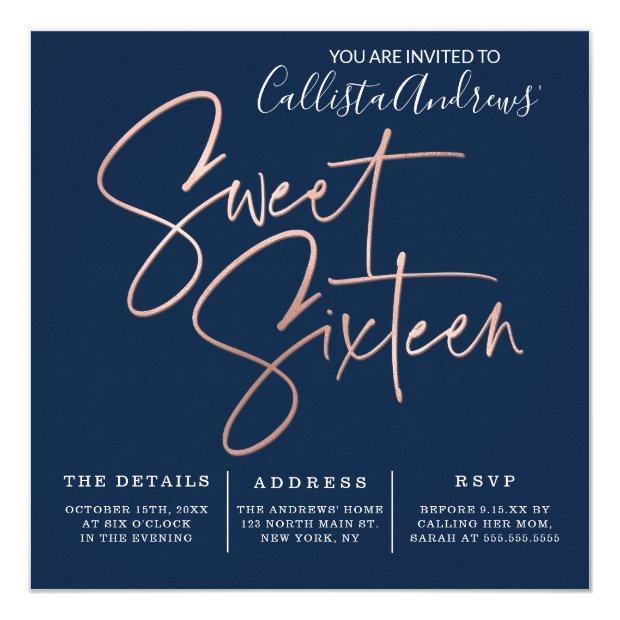Minimalist Navy Blue Rose Gold Typography Sweet 16 Invitation