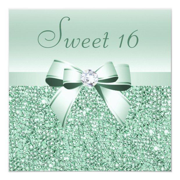 Mint Green Sequins, Bow & Diamond Sweet 16 Invitations