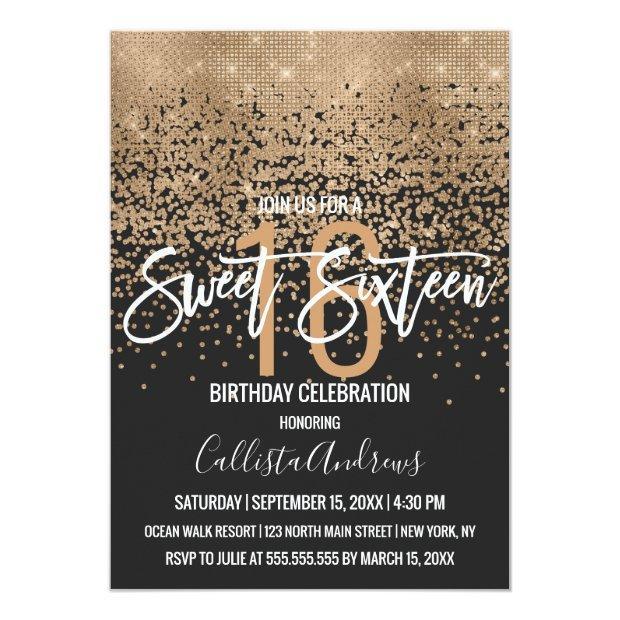 Modern Black Gold Glitter Confetti Sweet 16 Invitation