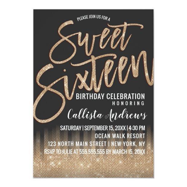 Modern Black Gold Glitter Typography Sweet 16 Invitation