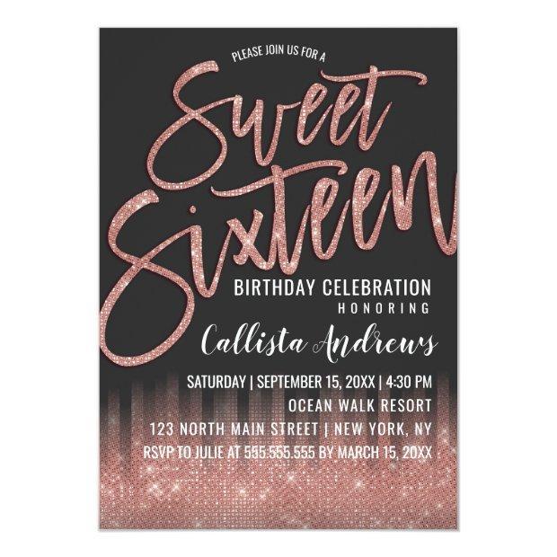 Modern Black Rose Gold Glitter Typography Sweet 16 Invitation