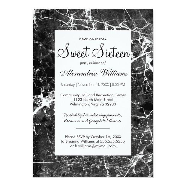 Modern Black White Elegant Marble Sweet Sixteen Invitations