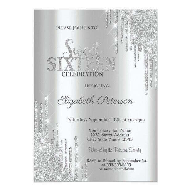 Modern Elegant Silver Glitter Drips Sweet 16 Invitation
