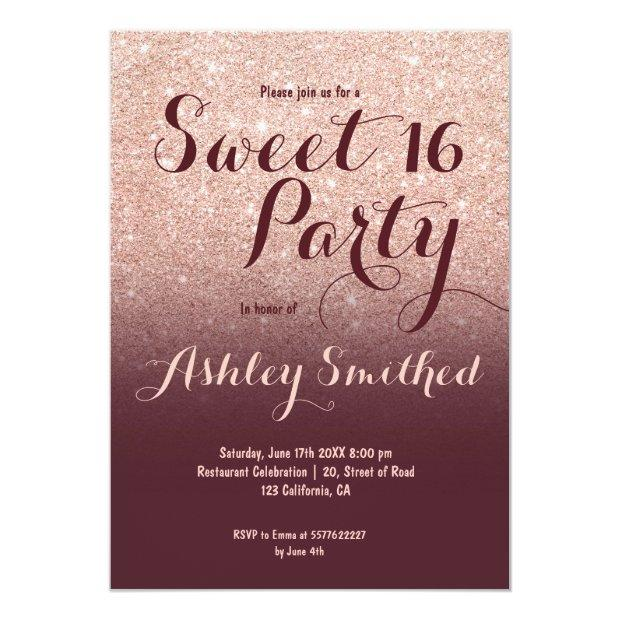 Modern Faux Rose Gold Glitter Burgundy Sweet 16 Invitations