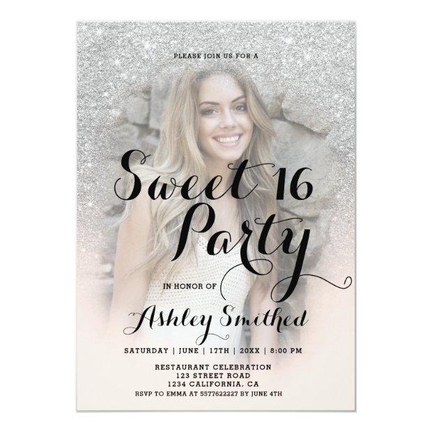 Modern Faux Silver Glitter Blush Photo Sweet 16 Invitations