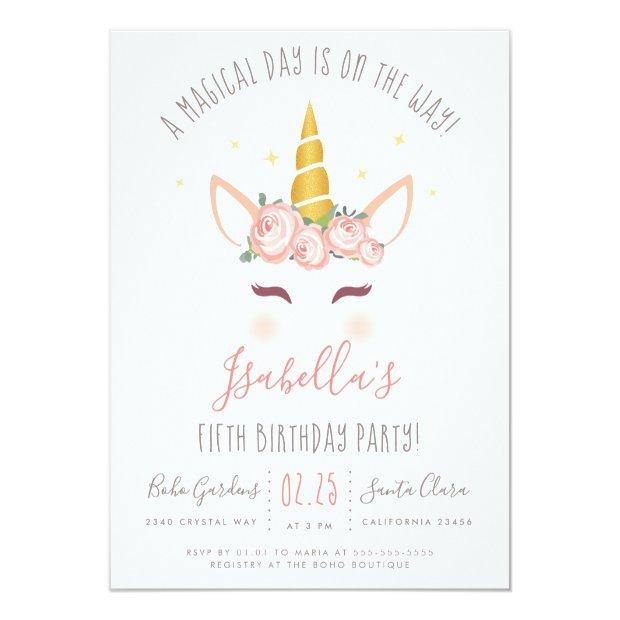 Modern Gold Floral Magical Unicorn Birthday Party Invitation Postinvitations