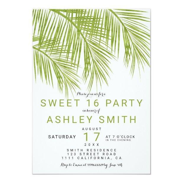 Modern Greenery Palm Tree Elegant Sweet 16 Invitation