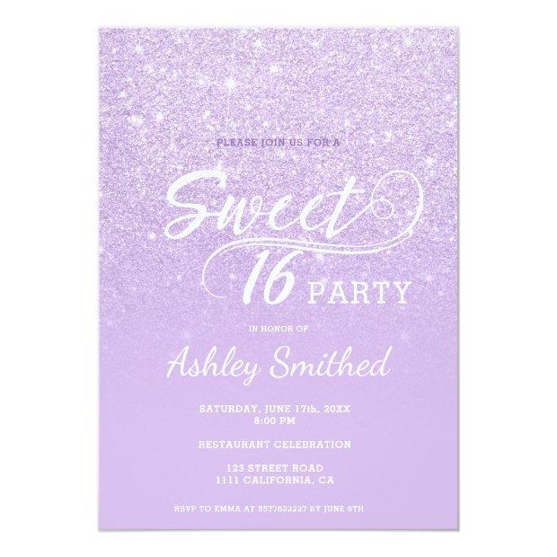 Modern Lavender Glitter Ombre Purple Sweet 16