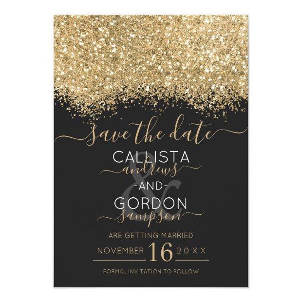 Modern Luxury Gold Black Glitter Confetti Wedding Save The Date