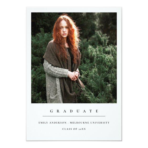 Modern Minimal Clean Custom Photo Graduation Announcement Postinvitations