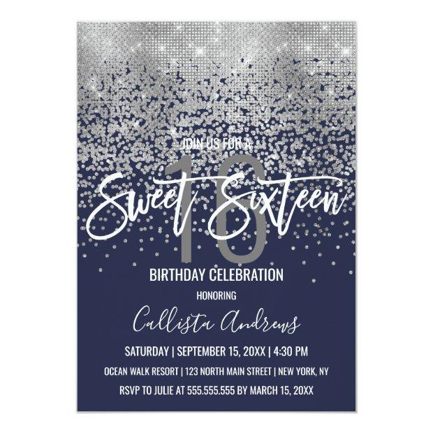 Modern Navy Blue Silver Glitter Confetti Sweet 16 Invitation