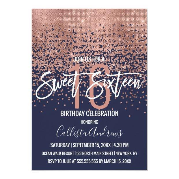 Modern Navy Rose Gold Glitter Confetti Sweet 16 Invitation
