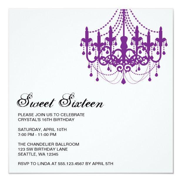 Modern Purple Chandelier Sweet Sixteen Birthday Invitations
