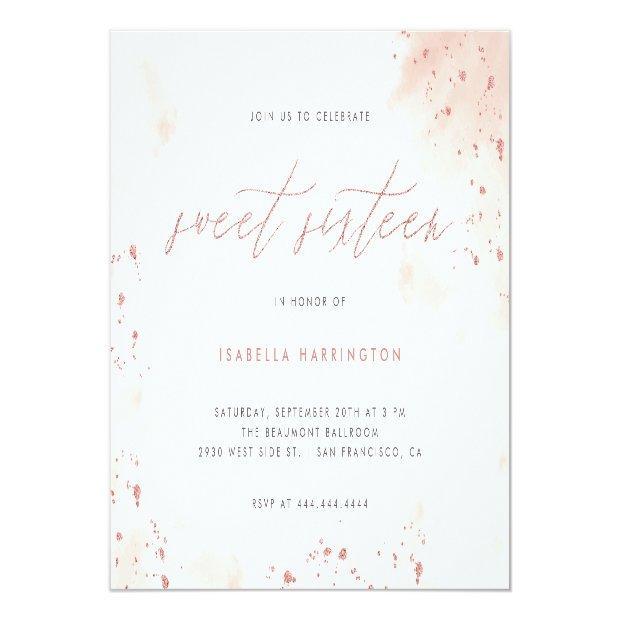 Modern Rose Gold Glitter Blush Pink Ombre Sweet 16 Invitation Postinvitations