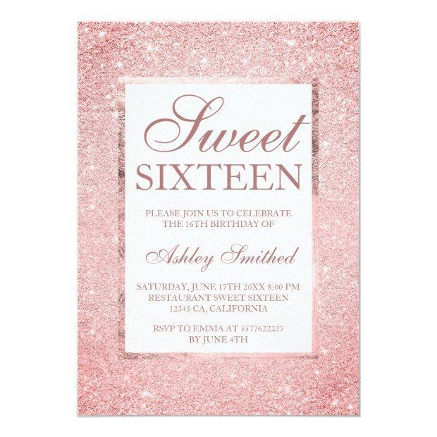 Modern Sangria Pink Glitter Elegant Chic Sweet 16 Invitation