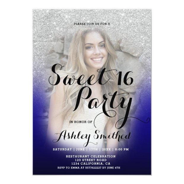 Modern Silver Glitter Ombre Blue Photo Sweet 16 Invitations