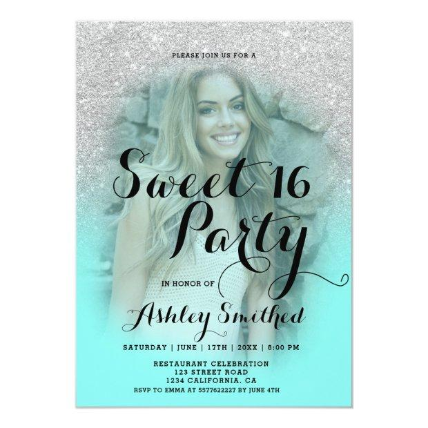Modern Silver Glitter Teal Aqua Photo Sweet 16 Invitations