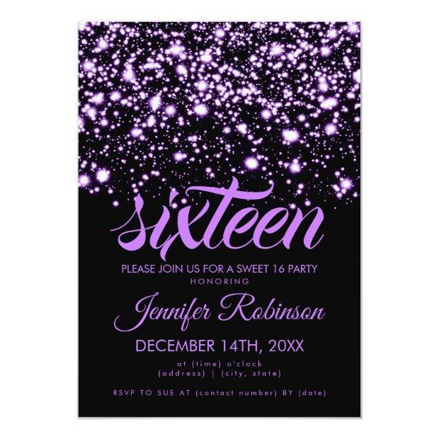 Modern Sweet 16 Purple Midnight Glam Invitations