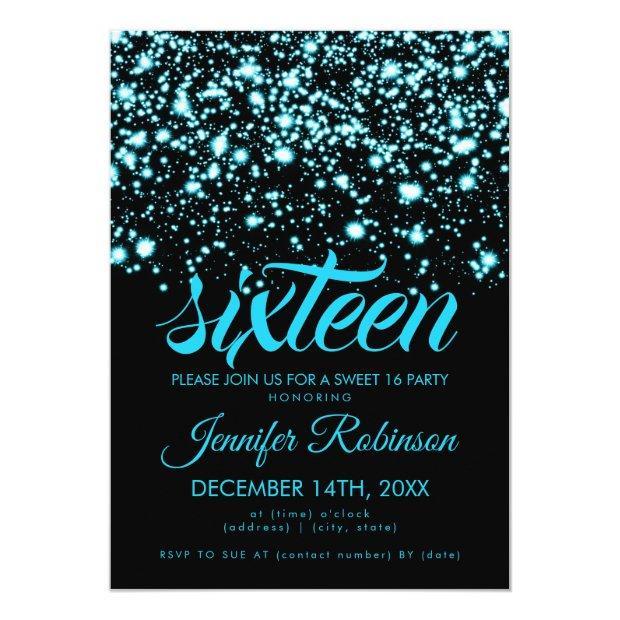 Modern Sweet 16 Teal Blue Midnight Glam Invitations