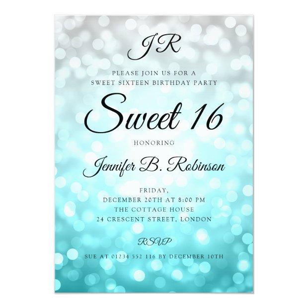 Monogram Teal Ombre Lights Sweet 16 Birthday Invitation