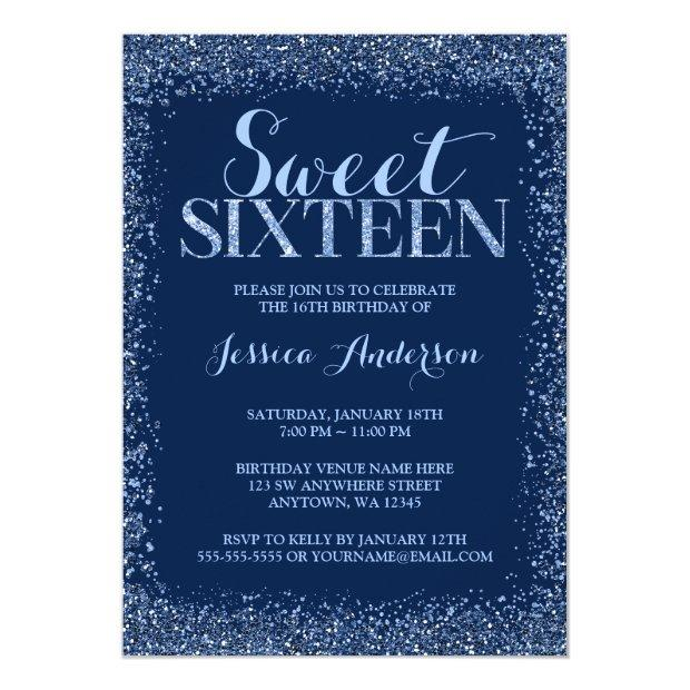 Navy Blue Faux Glitter Sweet 16 Birthday Invitation