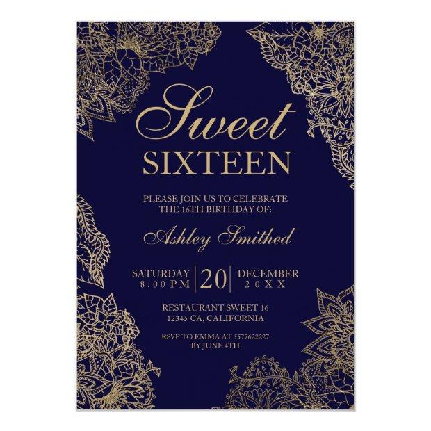 Navy Blue Gold Floral Elegant Sweet Sixteen Invitations