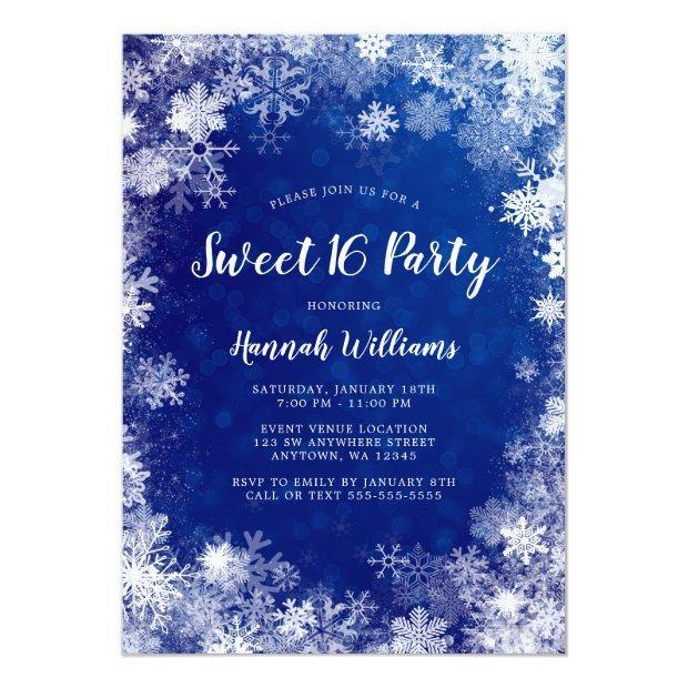 Navy Blue Snowflakes Winter Wonderland Sweet 16 Invitation